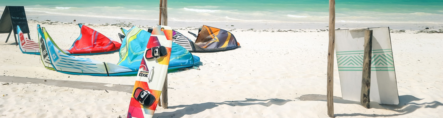 Kite surf equipment on the beach in Paje